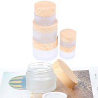 2020 5G 10G 15G 30G 50G 100G Mattglas Glas Creme Flaschen Runde Kosmetikte Hände Gesicht Verpackung Flaschen Gläser mit Holzkornabdeckung