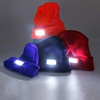 Gece Koşu Kış Kamp Bisiklet Bisiklet Avcılık Örme Cap Işıltılı Şapka Işık Far Far Cap LED
