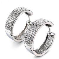 Kristaller Kakma Kil Seti Rhinestones Hoop Küpe İçin Bayanlar blinging Küpeli ile Moda Kadınlar 316L Paslanmaz Çelik Huggie Küpe