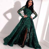 Арабский Emerald Green Lace Длинные вечерние платья 2020 Длинные рукава Сплит Sweep Поезд Формальная Пром платья партии BC2652