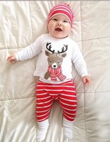 Retail Baby Christmas set 3pcs outfits suit Long Sleeve Deer...