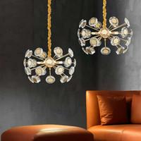 2020 cristallo moderno Dandelion apparecchi di illuminazione della lega di disegno Brass Hanging Chandelier oro acciaio catena G9 Base Art Deco hall lampada