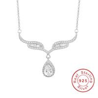 Marke 925 Sterling Silber Engel Flügel 2ct SONA DIAMOND Halsketten Wassertropfen Anhänger Halskette Luxus Hochzeit Schmuck für Frauen