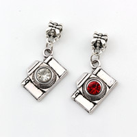 60pcs Ancient silver Red /white Rhinestone Camera Photographer Pendants Charms Bead for European Bracelet 36.5x 20mm A-584