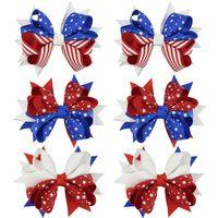 Crianças bandeira americana impressão Barrettes Moda Infantil 04 de julho Laço de Cabelo Clipe Cute Girl Swallowtail Grampos Acessórios de cabelo LT-TTA1021