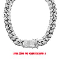 18mm Never Fade Stainless Steel Rhinestones Cuban Link Chain Necklace Men Hip Hop Bling Iced Out CZ Necklaces Jewelry
