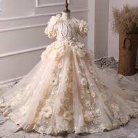 Arabo principessa Abiti da sposa per Ball abito da sposa 3D floreale fiori di pizzo Comunione Girl Prom Dress Pageant Gown