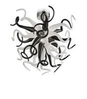 Черный и белый муранского стекла Люстра Французский стиль сшитое Art Decor 100% ручной выдувного стекла подвесные светильники