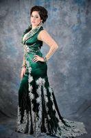2019 NUOVO ultimo disegno popolare verde plus size sirena abiti da sera manica lunga illusione di cristallo imitazione del merletto pageant abiti personalizzati