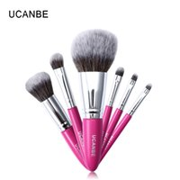 Factory Red Fiber Hair 7pcs Cosmetic Brushes Set Cosmetic Ey...