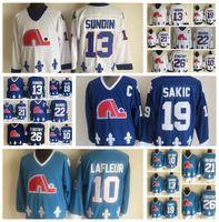 Mode Retro Quebec Nordiques Trikots Peter Stastny Mario Marois Mats Sundin Peter Forsberg Blau Mens genähtes Throwback Hockey Jerseys