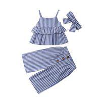 Moda para niños, niña, niña, trajes de rayas, ropa de verano, correa sin mangas, volantes, chaleco, pantalones anchos de led, diadema, 3 piezas, conjuntos 1-6Y