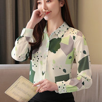 Blusas de las mujeres camisetas Chifón coreano Mujeres de manga larga Tops Oficina Lady Print Shirt Plus Tamaño Blusas Mujer De Moda