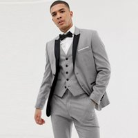 Ternos cinza italianos para homens Groom Wedding Tuxedo Black Peak Terno Masculino Best Man Blazer Tailored Groomsmen trajes 3piece Costume Homme