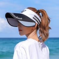 Mössor Visor Cap Women Anti-UV Visor Hatt Kepsar För Kvinnor Sommardesigner Hattar Extra Wide Protect Face NE1005