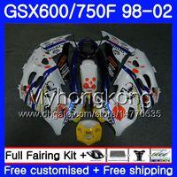 Kropp för Suzuki Katana GSXF 600 750 PEPEPHONE Vit GSXF750 98 99 00 01 02 292HM.31 GSX 750F 600F GSXF600 1998 1999 2000 2001 2002 Fairing