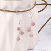 Argento 925 rosa orecchini di cristallo di quarzo fragola orecchino della vite prigioniera Elegante Per Ragazze Belle turchese Jewelry
