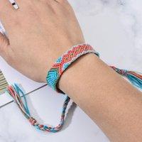 Bohemia trenzada hecha a mano de la borla de la pulseras de los encantos de la Mujer de algodón para hombres Nudo de la cuerda de la cadena pulsera tobillera joyería étnica