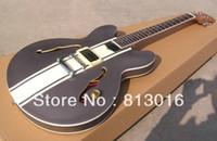 Nouvelle arrivée blanc 333 Custom Shop Jazz Guitar gris Top crème jaune strape sur le corps moyen Instruments de musique Livraison gratuite