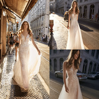 2019 Berta Lace Backless Boho Wedding Dresses V Neck A Line ...