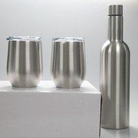 3pcs / lot conjunto copo de vinho garrafa de vinho tinto de aço inoxidável com copos de ovo presente pacote Duplas copos de 500ml 700ml 12 onças copo de ovo KKA8002