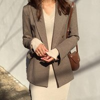 Vintage Double Breasted Office Ladies Plaid Blazer Long Slee...