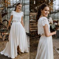 Zwei Stücke Lace Boho Brautkleider 2020 mit kurzen Ärmeln Applique Hoch Tief Braut Brautkleider robe de mariée mit Knöpfen CPH0332