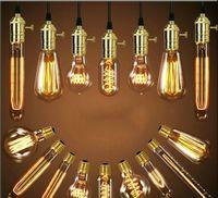 레트로 에디슨 전구 E27 110V 220V 40W ST64 A19 T10 T45 T185 필라멘트 빈티지 앰플 백열 전구 에디슨 램프