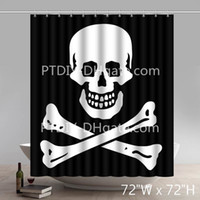 Custom Skull And Crossbones Patch Shower Curtains