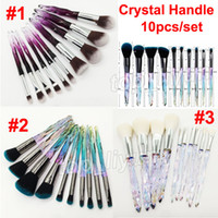 New Crystal Makeup Brushes 10pcs / set Diamond Crystal Handle Brush Set di pennelli ombretto Face Foundation Powder Concealer Cosmetics Brush