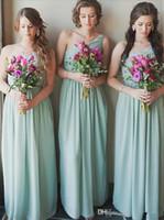 2021 Новый Mint Green Дешевые Платья подружки Подружки Подружки Платья подружки Платья Сливты Один Плеча Длины Длины Дейсеизель Д'Ненур Свадьба Гостевое платье