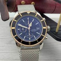 Nuovo 47MM Super-Ocean Indice Luminous Mens quarzo Cronografo cronometro cassa in oro della vigilanza dell'acciaio inossidabile Mesh bracciale da polso
