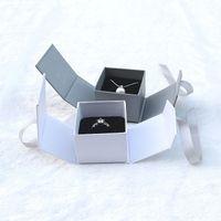 Бантом коробка ювелирных изделий контейнер обручальное кольцо упаковка предложение обручальное хранение портативный ожерелье дело высокого класса роскоши Моды
