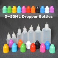 E-Cig Frasco gotero de plástico con tapa a prueba de niños y punta larga y delgada Botella vacía 3ml 5ml 10ml 15ml 20ml 30ml 50ml E-líquido Botellas