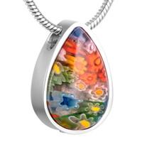 IJD8476 Многоцветная слезинка из муранского стекла Кремация Ожерелье для пепла на память Ювелирные изделия из нержавеющей стали Мемориал Урна Кулон Ювелирные изделия