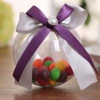 6-8cm Borboleta dupla fita de plástico bola transparente criativo casamento decorações centros de mesa caixa de doces de casamento atacado