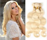 Brasilianische Körperwelle Menschliches Haar Gewebe 613 Blonde Zwei Ton Farbe Voller Kopf 3pcs / lot Doppel-FEFTS Remy Hair-Erweiterungen