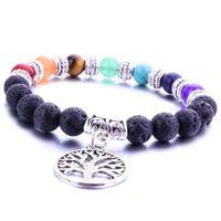 8MM 7 Chakra Lava Stone Tree Beads Of Life pulseira DIY essencial de Aromatherapy Difusor Oil Bracelet para as Mulheres Homens Jóias