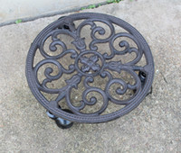 Wrought Iron Plant Planter Pot Holder Tray Heavy Mover Troll...