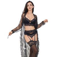 CYHWR Sexy Lace Unterwäschesatz Robe + BH + Höschen + Strümpfe + Y-Liniengurte + String 7 Stück für die Dame