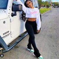 Pantaloni leggings impilati con spaccatura joggings pantaloni sportivi donna 2020 streetwear increspato a vita alta campana fondo lungo flare pantaloni nero T200422