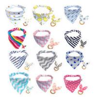 Nouveau chaud bébé alimentation tête écharpe serviette Bib Saliva Triangle Dribble + Anneaux 2pcs Teething