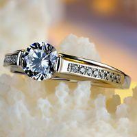 Redonda pequena Lab verdadeiro anel de prata esterlina 925 anéis de noivado para as mulheres brancas Zircon Anel de casamento do sexo feminino jóias