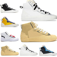 Nike Blazer Shoes 2020 Nova Chegada Mens Blazer Mid Sacai Casual Combine Dunk Running Shoes High Maize Navy University Blue Camo White Grey Sports Trainers