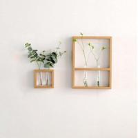 İskandinav Stili El Sanatları Katı Duvar Temizle Cam Tüp Ev Dekorasyon Ahşap Çiçek Vazo hidrofonik Bitki Pot Raf Hanging