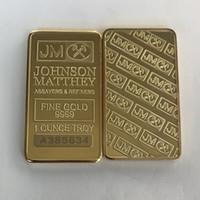 10 pc non magnetico Johnson Matthey argento dorato bar 50 mm x 28 mm 1 OZ JM decorazione moneta con numero di serie laser diversi