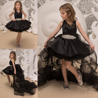 Sexy Black Hi Low 2019 Littler Girls Pageant Dresses with De...
