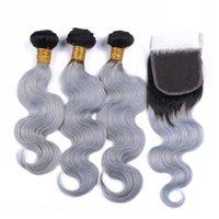 Бразильский Серебряный Серый Ombre переплетений человеческих волос с Top Closure Body Wave 2Tone 1B / Серый Ombre 4x4 Lace Closure с 3Bundles 4шт Лот