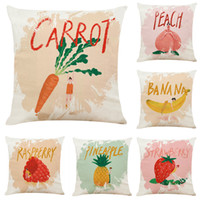 Creative Hand Drawn Fruit Girl Linen Cushion Covers Home Off...