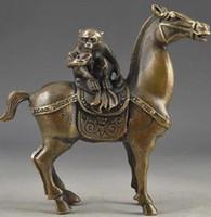 الصين خمر النحاس اليدوى مطروق القرد ركوب الخيل محظوظ تمثال